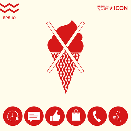 No ice cream symbol icon Illustration