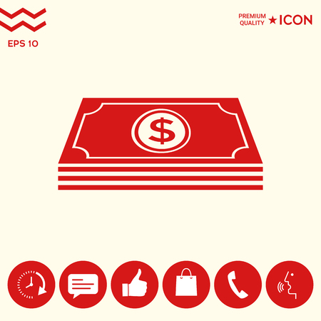 Money banknotes stack with dollar symbol - icon 일러스트