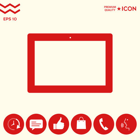 Computer tablet with blank screen, icon