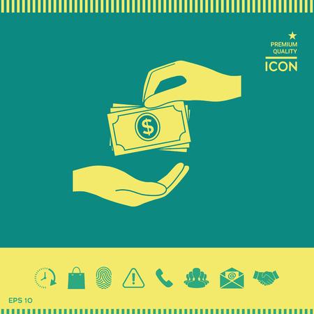 Receiving money banknotes stack icon. Cash stacks money banknotes 일러스트