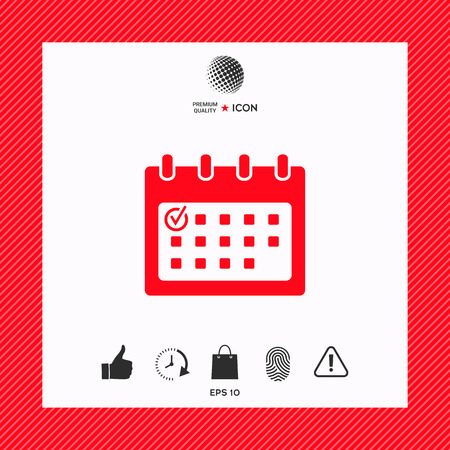 Calendar icon with check mark 矢量图像