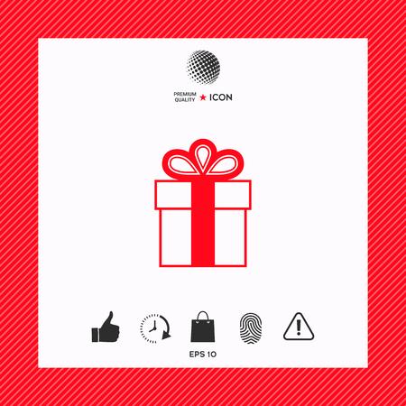 Gift box symbol icon. 矢量图像