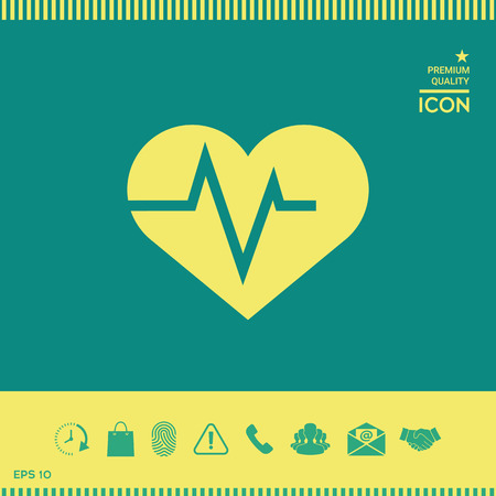 Heart with ECG wave - cardiogram symbol. Medical icon