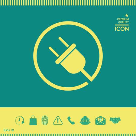 Plug in round icon