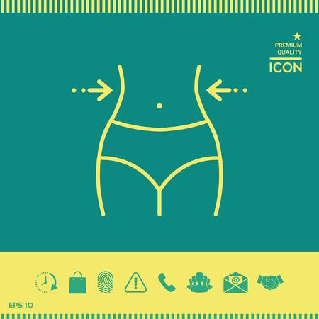Women waist, weight loss, diet, waistline - line icon Illustration