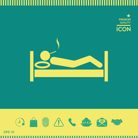 Smoking in bed icon Stock Photo