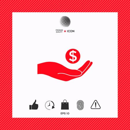 Hand holding money - dollar symbol