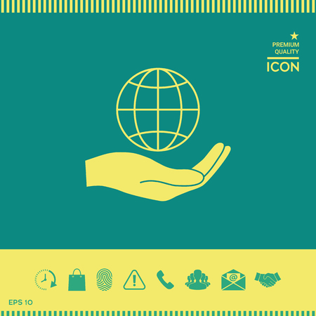 Hand holding Earth. Protect icon Illustration