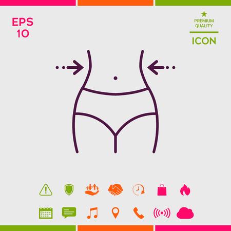 Women waist, weight loss, diet, waistline - line icon Vettoriali