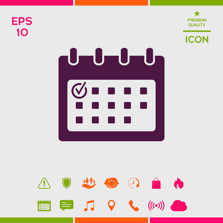 Calendar icon with check mark Stock Illustratie