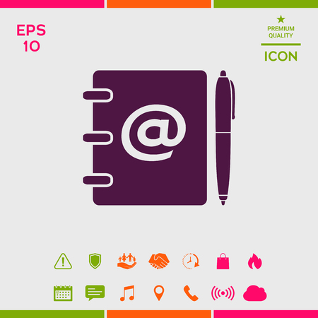 Notebook, address, phone book with email symbol and pen icon