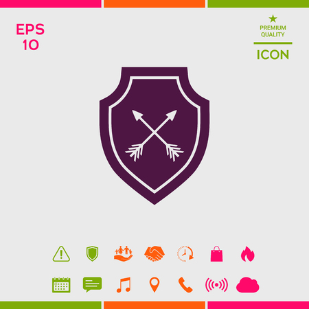 Shield with arrows. Protection icon Stock Vector - 102328238