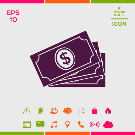 Money banknotes stack with dollar symbol, icon