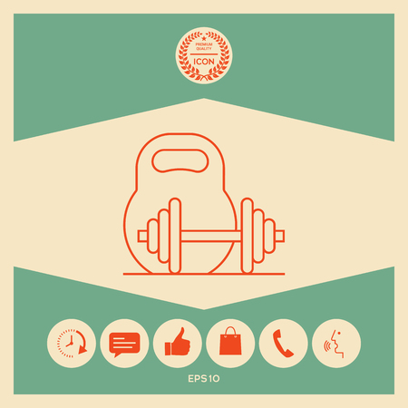 Kettlebell and barbell line icon