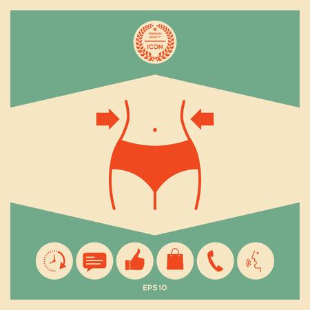 Women waist, weight loss, diet, waistline icon 免版税图像 - 102510117