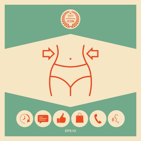 Women waist, weight loss, diet, waistline line icon