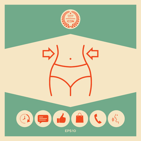 Women waist, weight loss, diet, waistline line icon