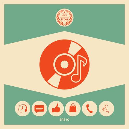 CD, DVD with music symbol icon Иллюстрация
