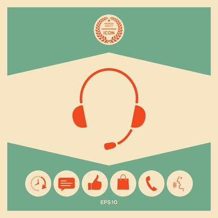 Headphones with microphone icon Vectores