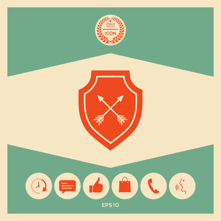 Shield with arrows. Protection icon Stock Vector - 102510735