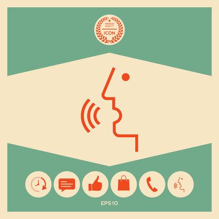 Spraakbesturing, pratende persoon - pictogram