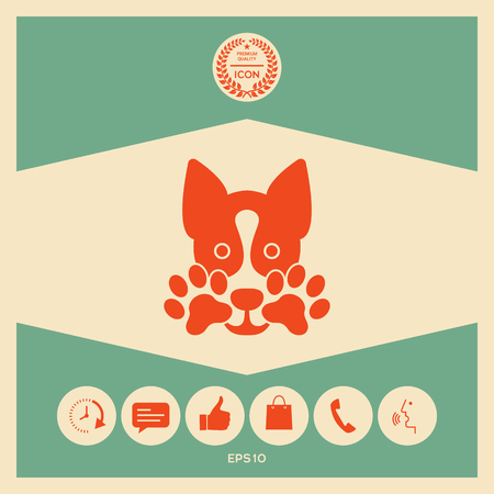 Cute Dog, paw - logo, symbol, protect sign Stock Vector - 102421460