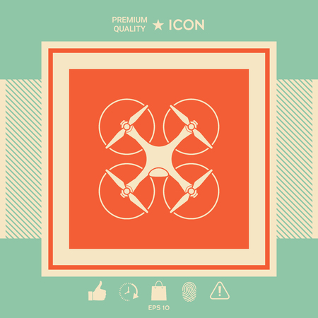 Quadcopter, flying drone icon