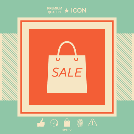 Shopping bag with the sale, discount symbol . Signs and symbols - graphic elements for your design Banque d'images - 121836333