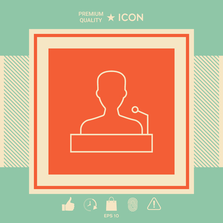 Speaker, orator speaking from tribune - line icon . Signs and symbols - graphic elements for your design