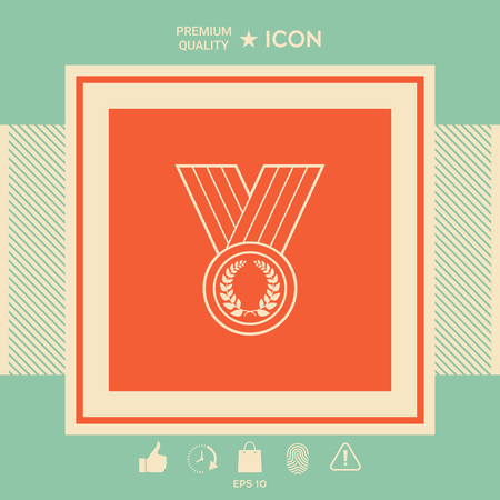 Medal with Laurel wreath, line icon . Signs and symbols - graphic elements for your design