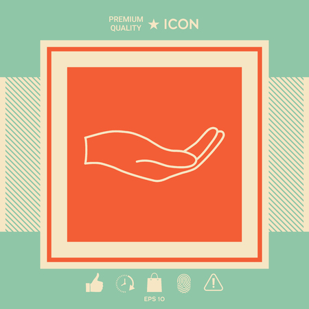 Open hand - line icon . Signs and symbols - graphic elements for your design Illustration