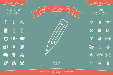 Pencil - linear icon . Signs and symbols - graphic elements for your design