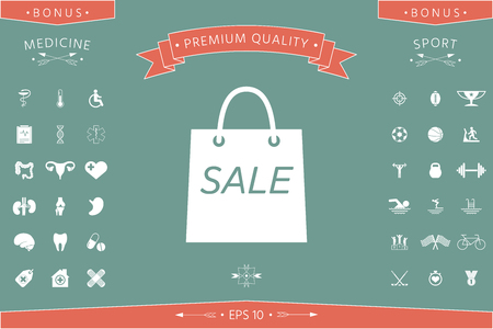 Shopping bag with the sale, discount symbol . Signs and symbols - graphic elements for your design