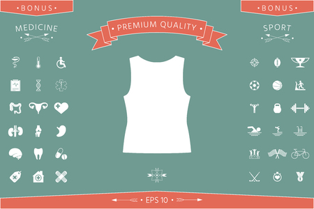Women T-shirts, the silhouette. Menu item in the web design Banco de Imagens