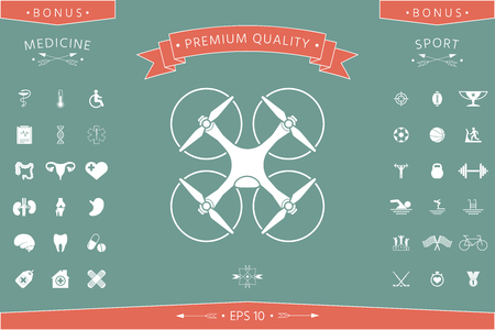 Quadcopter, flying drone icon . Signs and symbols - graphic elements for your design