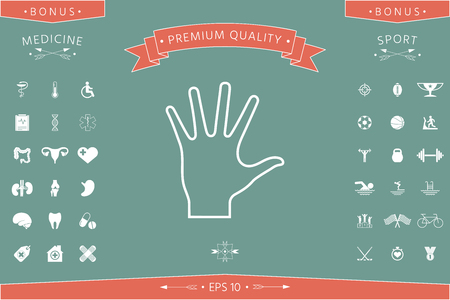 Helping hand - line icon . Signs and symbols - graphic elements for your design