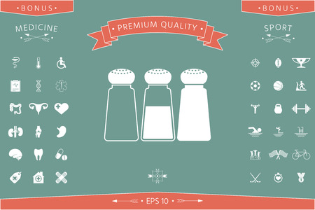 Salt or pepper shakers - set . Signs and symbols - graphic elements for your design