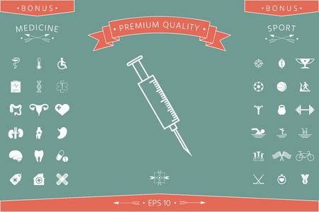 Medical syringe symbol . Signs and symbols - graphic elements for your design Illustration