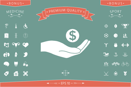 Hand holding money - dollar symbol . Signs and symbols - graphic elements for your design Vectores