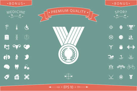 Medal with Laurel wreath, icon . Signs and symbols - graphic elements for your design