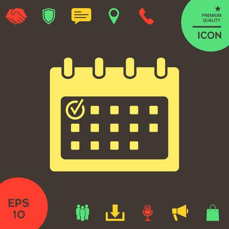 Calendar icon with check mark. Element for your design . Signs and symbols - graphic elements for your design Vectores