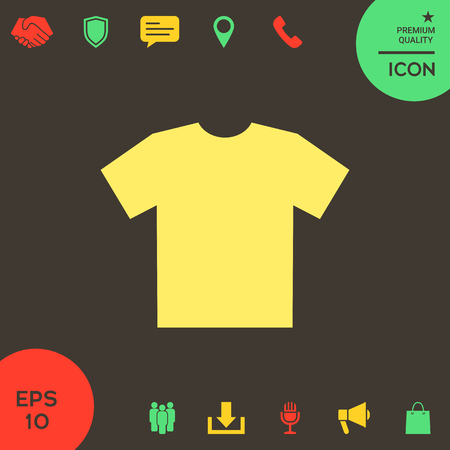 Men's T-shirt icon , the silhouette. Menu item in the web design . Signs and symbols - graphic elements for your design