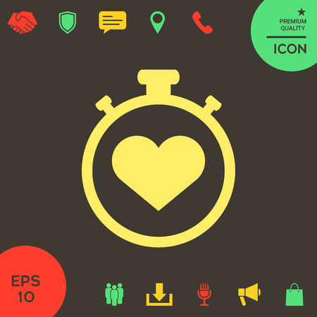 Stopwatch with heart symbol - icon. Heart Timer sign . Signs and symbols - graphic elements for your design Banque d'images - 121828438