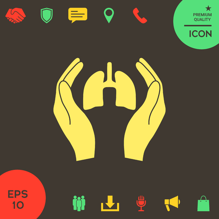 Hands holding lungs - protection icon . Signs and symbols - graphic elements for your design Banque d'images - 121828452