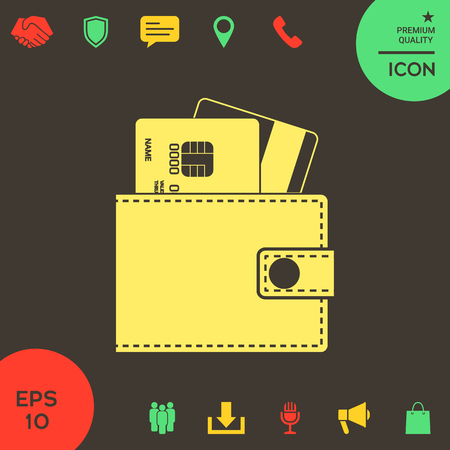 Wallet with credit cards inside icon . Signs and symbols - graphic elements for your design Banque d'images - 121828461
