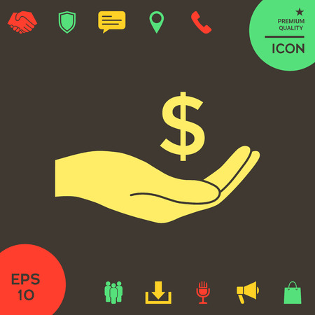 Money in hand, dollar symbol icon . Signs and symbols - graphic elements for your design Banque d'images - 121828462