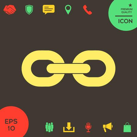Icono de cadena de enlace. Signos y símbolos: elementos gráficos para su diseño Ilustración de vector