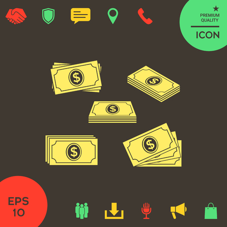 Set of Money banknotes stack icon . Signs and symbols - graphic elements for your design Banque d'images - 121828480