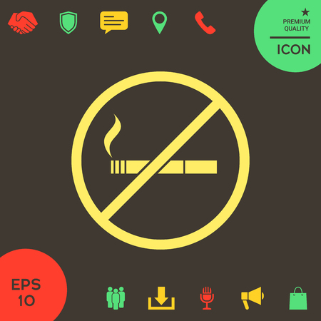 No smoking, smoking ban icon. Cigarette - prohibiting sign . Signs and symbols - graphic elements for your design Banque d'images - 121828485