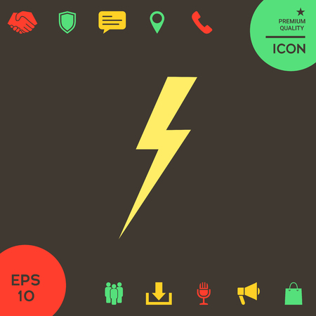 Thunderstorm lightning icon . Signs and symbols - graphic elements for your design Banque d'images - 121828494